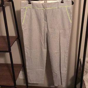 J CREW Slim Cropped Seersucker Work Pants